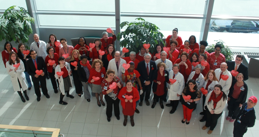 Members of the BWH Heart & Vascular Center pose for a group photo during National Wear Red Day.