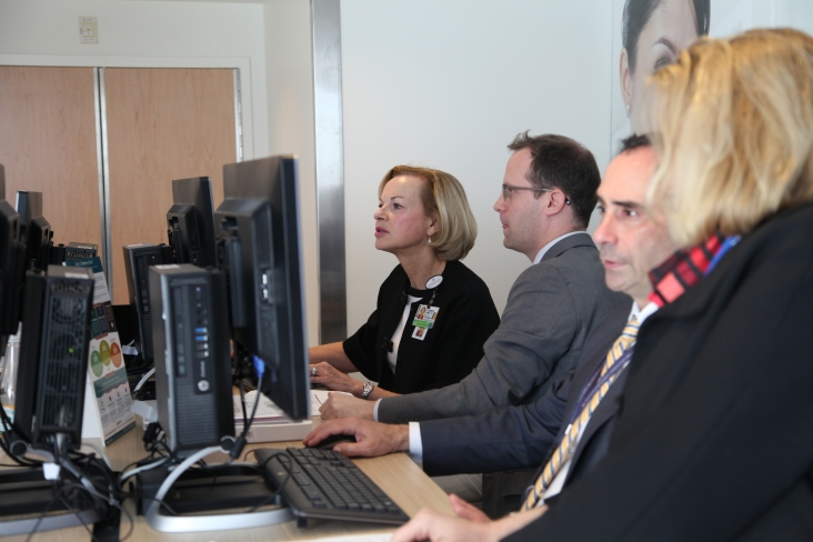 BWH President Betsy Nabel participates in a recent Partners eCare test drive in the eCare information center with Adam Landman, chief medical informatics officer.