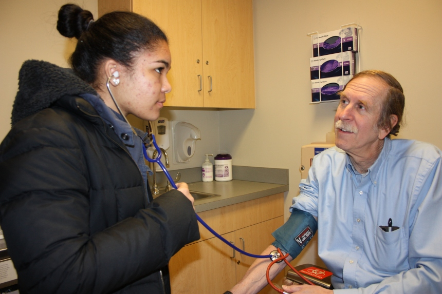 English High School student Diosaris Lorenzo spent Job Shadow Day with General Medicine physician Gordon Schiff.