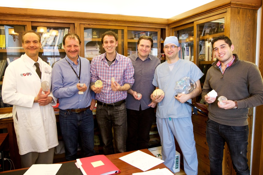 The team working on multimaterial biomedical 3-D printing, taken in Antonio Chiocca's office. From left: Chiocca, Steve Pieper, Steven Keating, James Weaver, of the Wyss Institute for Biologically Inspired Engineering at Harvard University, Mohamad Abolfotoh and Ahmed Hosny.
