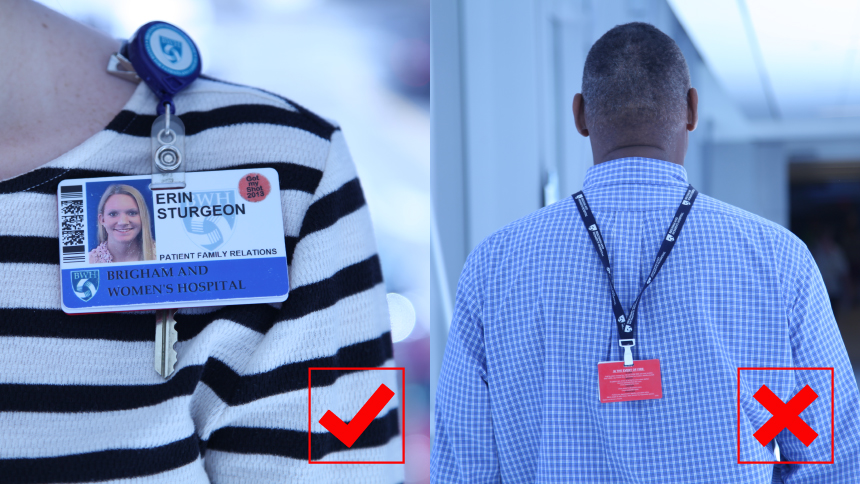 safety security corner wearing your bwh id correctly brigham