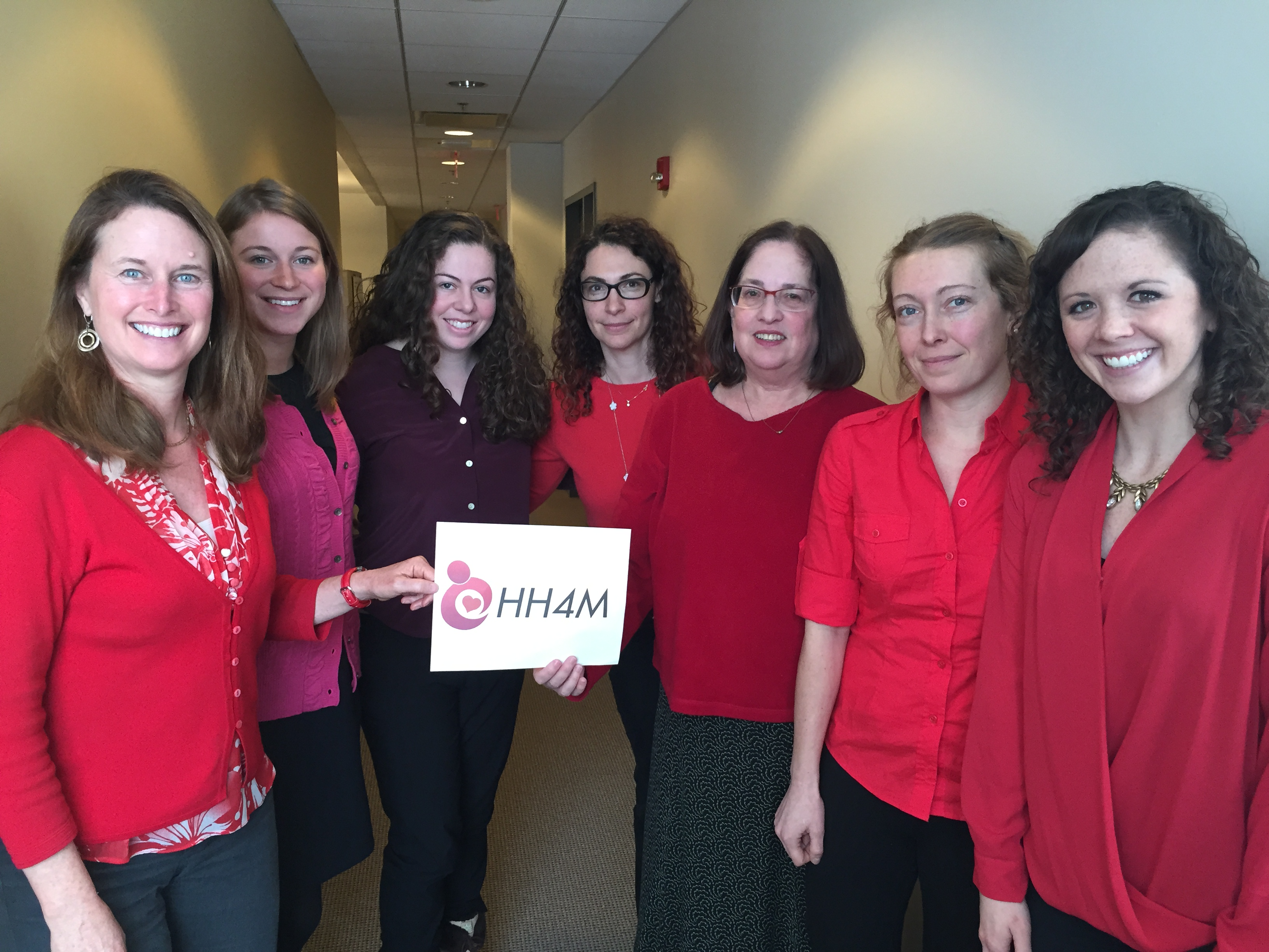 The Heart Health 4 Moms team, including Janet Rich-Edwards (far left) and Ellen Seely (third from right), wearing red to support heart health