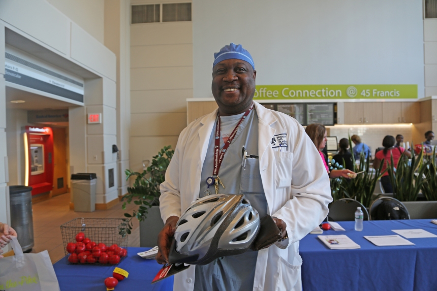 Ernst Daniel bought a bike helmet at BWH's Employee Wellness Day.