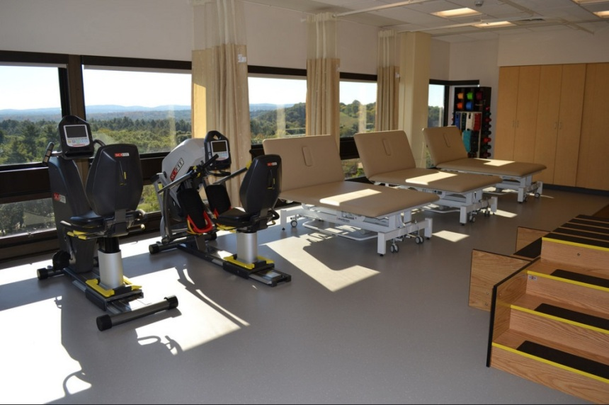 The gym in BWFH's new orthopedic and spine care unit overlooks Arnold Arboretum.