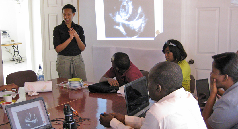 Michelle Morse leads an interactive educational session for Haitian clinicians.