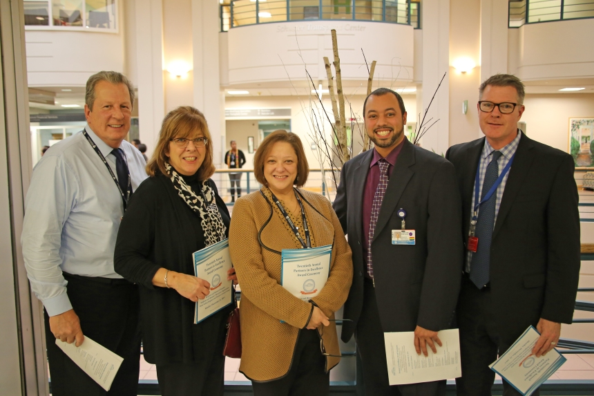 From left: PIE Award recipients Jim McKinnon, Paula Barry, Therese Breen, Jonathan Santiago and Patrick Lally
