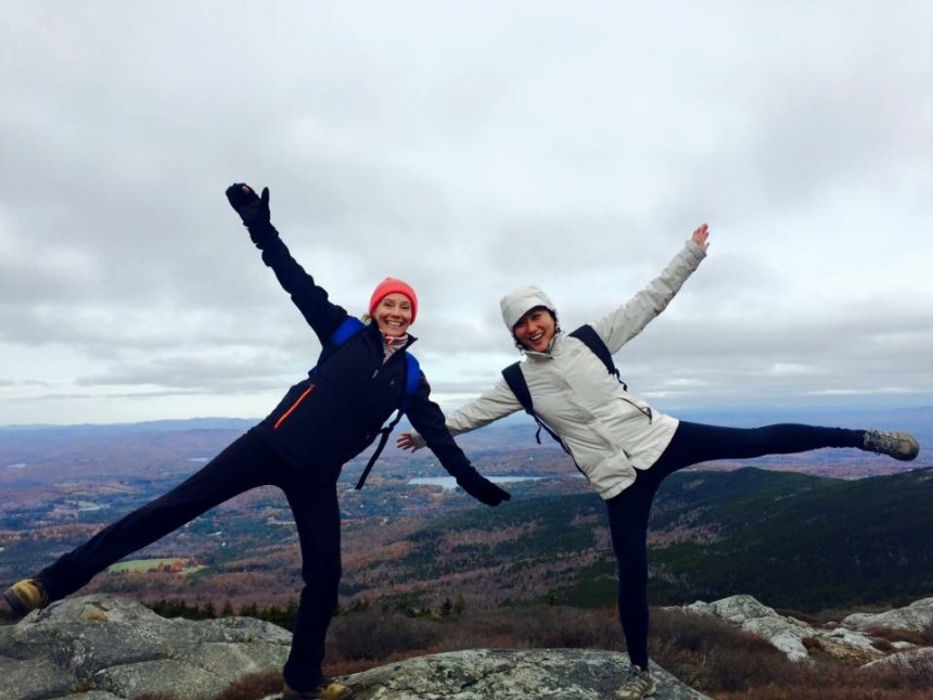 From left: Thoracic Surgery's Corinne Gustafson and Yifan Zheng find wellness atop Mt. Monadnock in New Hampshire.