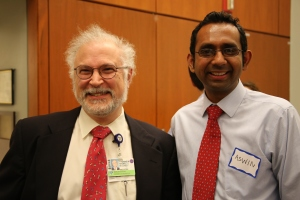 Thomas Michel (at left), cardiologist and co-director of the Leder Human Biology and Translational Medicine Program, with incoming intern Aswin Sekar