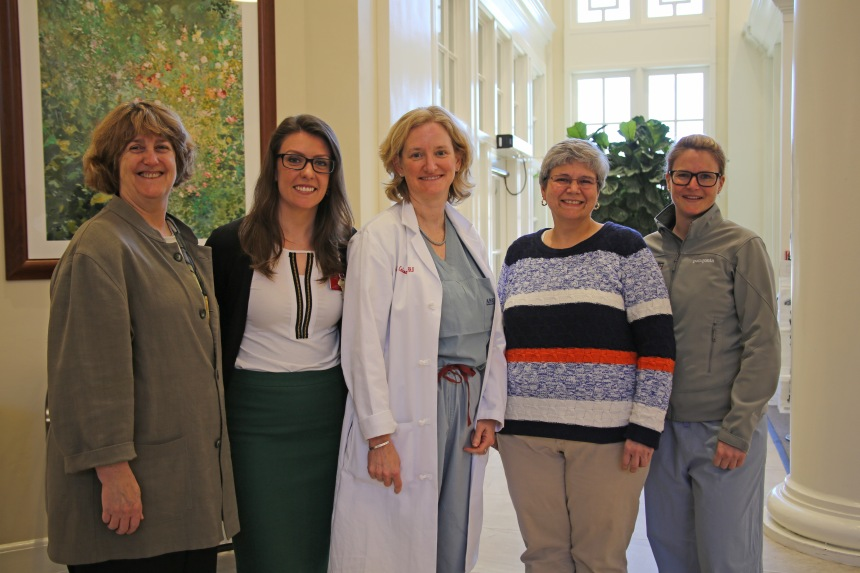 From left: Piper Orton, Katie Armstrong, Yolonda Colson, Cheryl Arena and Sophie-Charlotte Hofferberth, of BWH's Lung Cancer Strategist Program