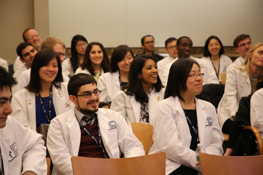 Third-year Harvard Medical School students attend an orientation day at BWH before beginning their clinical rotations.