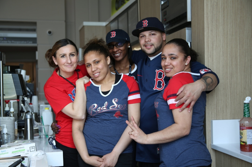 At left: Coffee Connection @ 45 staff took a team photo in their Red Sox attire.