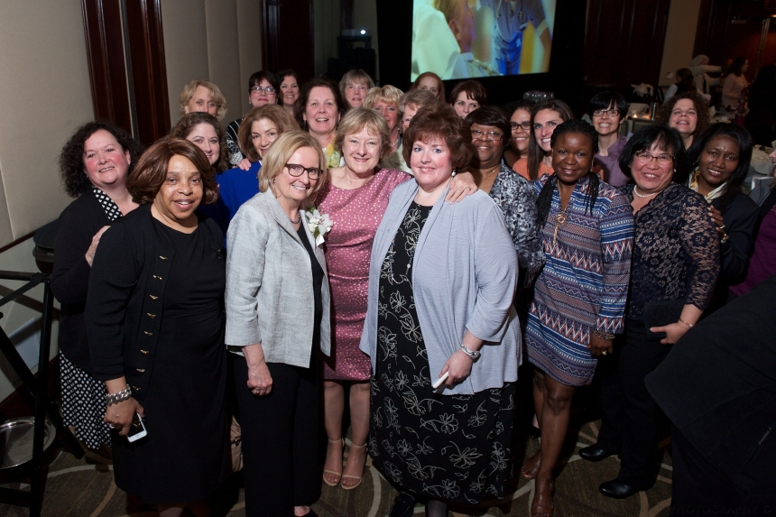 Nancy Kelleher (front row, second from left, in gray blazer) with colleagues at this year's Nurse Recognition Dinner