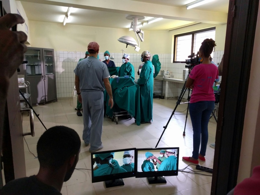 Filming an NOTSS training video in Rwanda