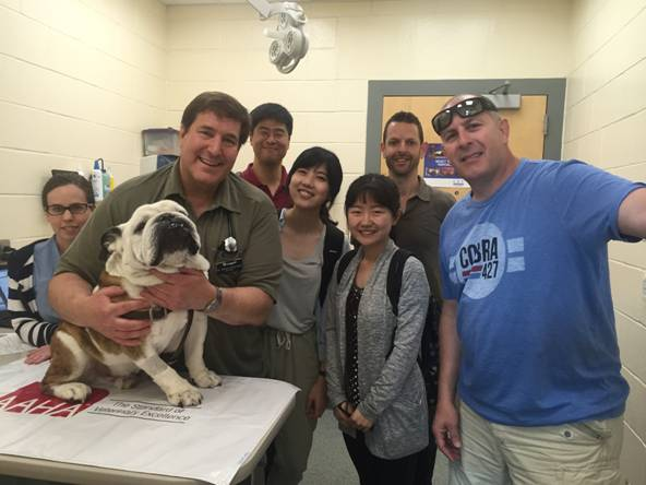 From left: Joanne Malley, William Rosenblad, Little Papi, Yuhan Lee, Song Yi Lin, Keyue Chen, Jeff Karp and John Shanahan