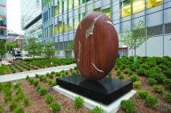 This outdoor sculpture is one of the building's three signature pieces of artwork.