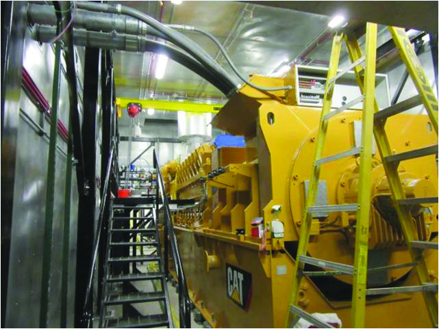 The 16-cyclinder engine powering the cogeneration plant