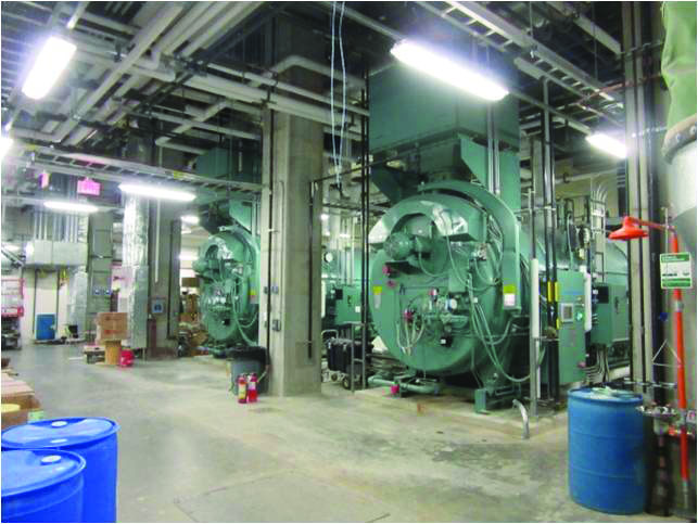 Boilers inside the cogeneration plant