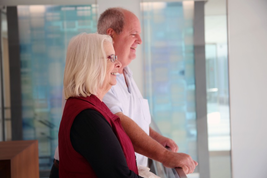 BWH patient Marcia Thorell and her husband, Bob, admire the lobby areas in the Building for Transformative Medicine.