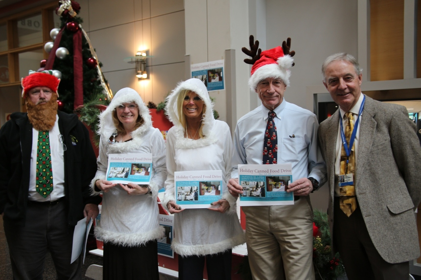 Preston Dunphy, Kathy Bertone, Helen Thompson, Bob Donaghue and John McGonagle kick off the annual Welcome Winter Food Drive.