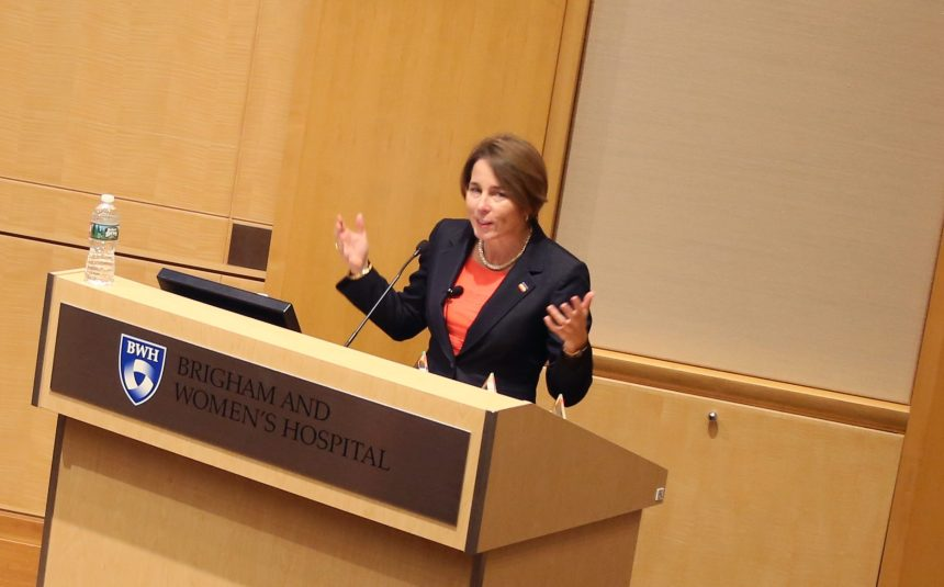 Massachusetts Attorney General Maura Healey speaks at BWH during the first event in a new LGBT Speaker Series.