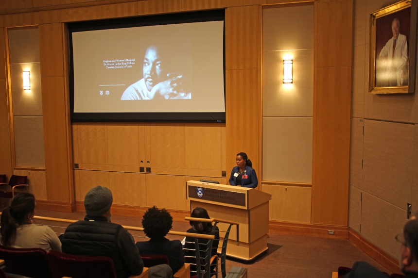 Shirma Pierre, of the Association of Multicultural Members of Partners, speaks at BWH's Rev. Dr. Martin Luther King Jr. event.