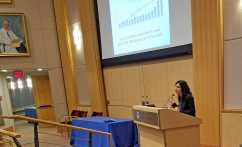 Monica Bharel speaks at the first Opioid Grand Rounds at BWH.