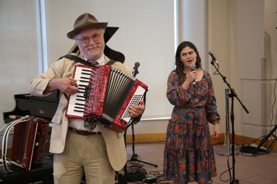 """From left: Thomas Michel and Anastasia Vishnevetsky perform """"La Vie en Rose"""" at Medicine and the Muse."""